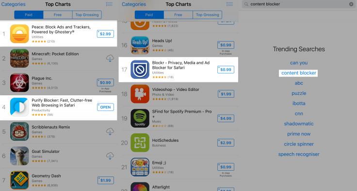 блокировщик рекламы для iOS 9